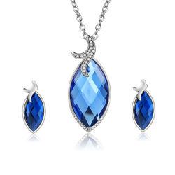 Einfacher Entwurfs-blaue Edelstein-Halsketten-Ohrring-nachgemachtes Schmucksache-Set