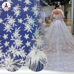 Shinning пайетками схемы вышивки кружевной ткани для свадебного платья