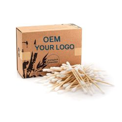 Premium de bambú Biodegradable bastoncillos de algodón 100% libre de plástico y envases de productos Vegan