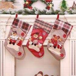 Ourwarm große Weihnachtsstrumpf-Weihnachtsmann-Socken-Plaid-Leinwand-Geschenk-Halter-Weihnachtsbaum-Dekoration-neues Jahr-Geschenk-Süßigkeit-Beutel