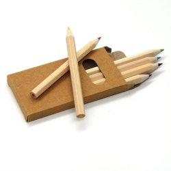 Papelaria Venda Quente Eco-Friendly reciclados de madeira natural de meio comprimento 3,5 polegadas lápis de cor/Lapiz Hexagonal de lápis de cor para os dons&Promoções