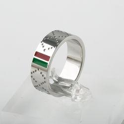 Anillo de acero inoxidable de lujo G G Marca rojo, verde y el anillo de titanio