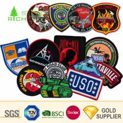 군 육군 깃발 학교 직물 경찰 레이블 Pin 의복 자수 패치가 길쌈한 도매 관례 3D 로고 옷에 의하여 기장 상징 직물 트리밍 목 수를 놓았다