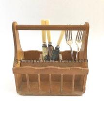 Supporto di legno dell'utensile della cucina del tovagliolo delle posate della fattoria del cottage