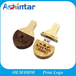 Están ajustadas USB2.0/USB3.0 el logotipo de disco Flash USB de Ping Pong Madera Natural de la unidad Flash USB.