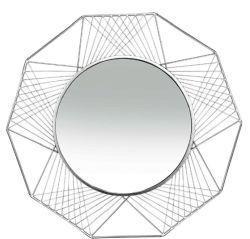 ديكور المنزل بمرآة نقشة هندسية معدنية للحائط