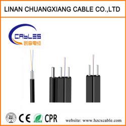 Câble à fibre optique de modèle unique FTTH Gjyfxch Câble de dérivation de 1 à 4 coeurs à plat câble de communication du fil en acier LSZH