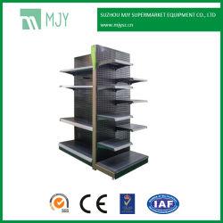 Supermercado perforada de acero estantes de góndola en el panel posterior
