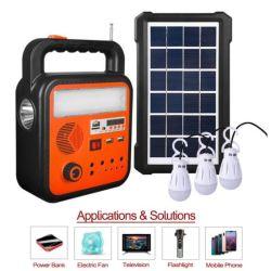 مجموعة الإضاءة المنزلية بمصابيح LED الشمسية أطقم إضاءة FM راديو Bluetooth TF نظام مشغل موسيقى البطاقة مع ضوء 3W*3PCS