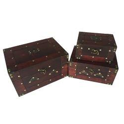 صندوق ديكور خشبي عتيق مصنوع من خشب الهرم