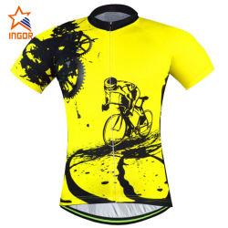 Venda por grosso amarelo de alta qualidade com os homens de compressão Sport Bicicleta Jersey