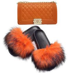 Jeu de la Fourrure Chaussons chaussures sacs sac à main gelée Sandales plates diapositives Rainbow moelleux de l'été Sacs à main et chaussures