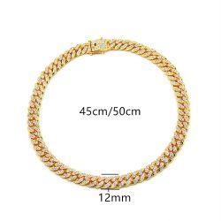 입방 지르콘을%s 가진 금에 의하여 도금된 보석 합금 쿠바 링크 사슬 목걸이가 형식 힙합 보석 12mm 다이아몬드에 의하여 18K 밖으로 얼렸다