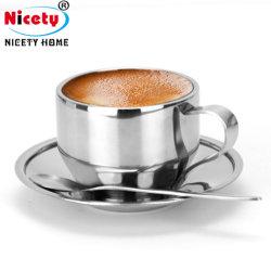 شحن بالجملة فضة [إسبرسّو] قهوة طبق مسطّح فنجان محدّد [ستينلسّ ستيل] [تا كب ند سوسر] مع ملعقة