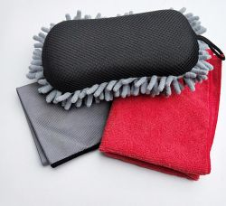 أدوات غسيل السيارات غسل السيارة قفازات مناشف الإسفنجية السيارة مستلزمات التنظيف 3 قطع