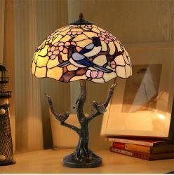 고풍스러운 스테인드 글라스 버드 아트 장식 럭셔리하고 아름다운 큰 침실 티파니 침대 테이블 램프(WH-TTB-08)