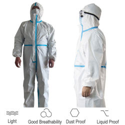En stock complet du Corps de protection personnel disponible PPE PE PP SMS de la sécurité de la protection médicale Costume d'Hazmat