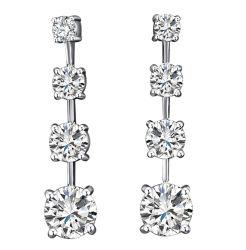 Form-Schmucksachen 925 Sterlingsilber-Diamant-Schmucksache-lange Ohrringe