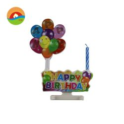 音楽ケーキの上層LEDライト及び点滅の多色刷りの気球の誕生日おめでとうのケーキの蝋燭