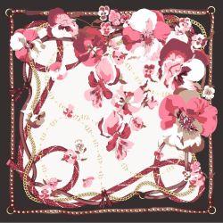 Florales personalizados Pañuelo de seda con flecos Edge