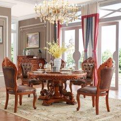 식당 가구를 위한 소파 의자를 가진 목제 둥근 식탁