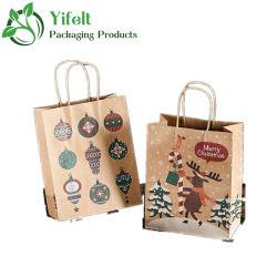 Weihnachts-Papiertüten Urlaub Lebensmittelgeschäft Kraftpapier-Tüten Flacher Boden Weihnachts-Geschenktüten