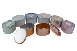 De ronde Verpakkende Doos van het Tin van het Koekje van de Rang van het Voedsel van de Vorm, past Tin van het Metaal van de Gift van het Deksel van Cabochon van het Blik van het Tin van het Metaal van het Koekje het Verpakkende aan