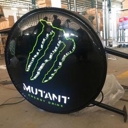 사용자 지정 양면 LED Round Lightbox 광고 표지판이 켜집니다 야외 맥주 표지판
