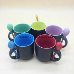 Color Changing Black Mug with Spoon, Inner Color out Black Color Change Mug with Spoon