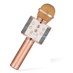 Mikrofon Computadora de mano inalámbrico Bluetooth del teléfono de micrófono de Karaoke Player Altavoz micrófono graba música KTV Microfone for iPhone PC