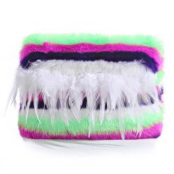 حقيبة يد شعبية مزدوجة الجانب ورقيقة من Furry مع Feather