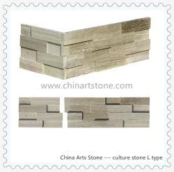 Madera chino negro y gris piedra de mármol de la cultura de la esquina de L