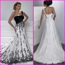 Vestidos de boda nupciales de alineadas formales del blanco del cordón de encargo del negro (A22)