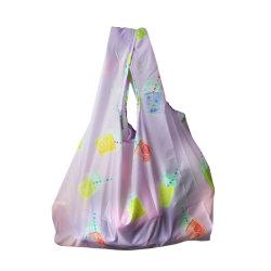 Легкий рекламных машинная стирка многоразовые RPET складные продуктовых магазинов женская сумка с Ярко раскрашенные деревянные сок напитки печать
