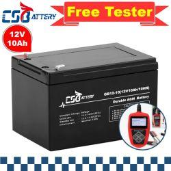 Csbattery 12V10Ah batería AGM de tamaño pequeño para Electric-Hair-Secador/Electric-Tools/Electric-Bike/Street-Light/Ali
