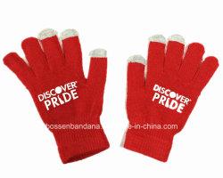 中国の工場農産物はロゴによって印刷された赤いアクリルの編まれた魔法のタッチ画面の手袋をカスタマイズした