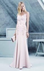Vestidos de noite frisados cor-de-rosa Ra931 do baile de finalistas do cetim dos vestidos de partido da sereia