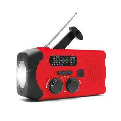 Carregador de maçarico lanterna clima AM / FM de luz de emergência Manivela Rádio Solar à prova de água