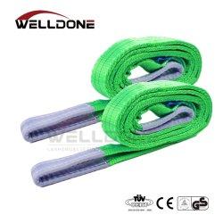 2 тонн или 2 м длины OEM 60мм Ширина полиэстер плоских плетеных 2t лямке ремня строп зеленый цвет фактора безопасности 8 1 7 1 6 1