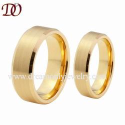 금 색깔을%s 가진 8mm&6mm 경사지고 솔질된 텅스텐 결혼 반지 한 쌍 반지