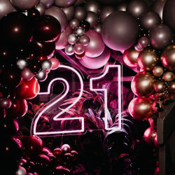 Bok plus monté sur un mur de vente Home Party décoration lumière LED en verre numéro 21 Enseigne au néon personnalisé