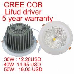 ضمان لمدة 5 سنوات مع ضوء بيان LED عالي القدرة CREE COB بقدرة 40 واط/45 واط/50 واط