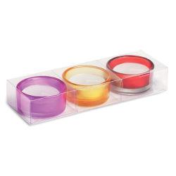 촛불이 있는 유리 티 홀더 3개 세트 맞춤형 로고