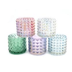 Supporto di candela o bottiglia di vetro di vetro colorato con rivestimento Iridescent con il coperchio del metallo o il coperchio di legno