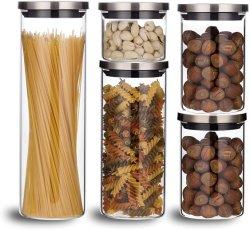 Bocaux en verre borosilicaté élevé pour le stockage de cuisine en pots de verre pour la nourriture en verre borosilicaté Ustensiles de cuisine Aritight Bouteilles en verre