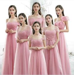 De roze Convertibele Kleding van het Bruidsmeisje van het Imperium van Tulle van de Douane van de Kleding van het Bruidsmeisje