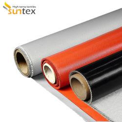 입히는 섬유유리 직물 반대로 화재 연기 커튼 물자 0.2 - 1.6 mm 산업 직물 회색 실리콘