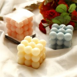 Luxueuse bougie parfumée décorative de mariage en forme de cube pour une décoration de mariage