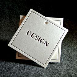 Livro Branco personalizado Garment pendurar roupas etiqueta de preço com o próprio logotipo