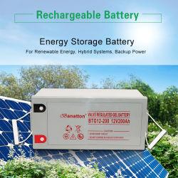 Banatton 12V 200ah 보관 충전식 납산 딥 사이클 젤 태양열 전원 시스템용 배터리